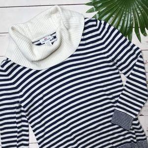 {Vineyard Vines} sz S Navy stripe cowl sweater